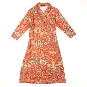 J. McLaughlin Panama faux wrap dress sheath orange